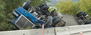 truck accident with semi overturned